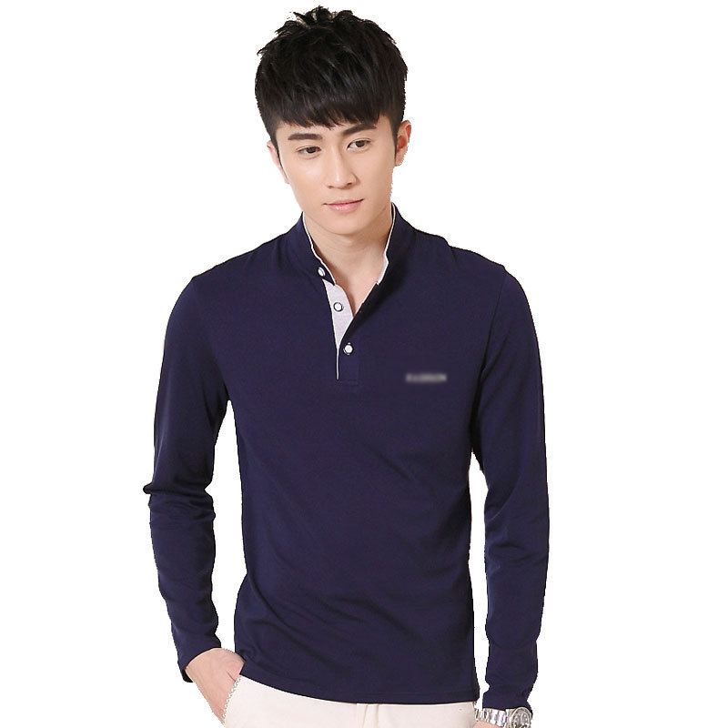 2015 cotton flax slim men stitching collar long sleeved t for Large v neck t shirts