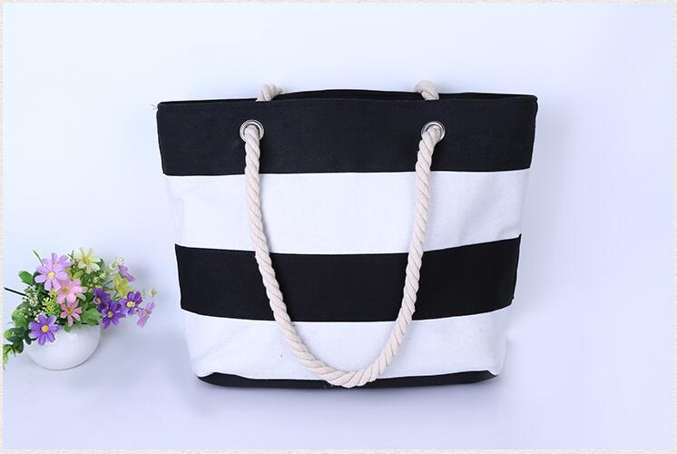NAVY STRIPED LARGE CANVAS TOTE BAG- Female 2016 Summer Casual Patchwork Travel Cord Handbag Girl's Shopping Beach Shoulder Bag(China (Mainland))