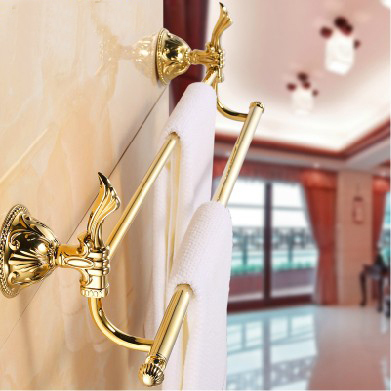 Free shipping!Bathroom accessories.Wall Mounted Golden Brass double Towel Bar. Wholesale Towel holder,bath towel rack.ZP-9311K