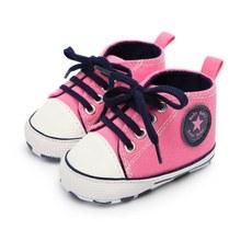 פעוט ילדים בני בנות נעלי אביב/סתיו בד סניקרס גבוהה למעלה תחרה עד נעלי תינוק מזדמן ראשון הליכונים(China)