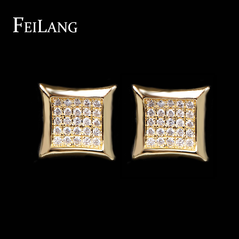 NEW Arrival 2 Color Women Men Earring Classic Design White/18K lated Inlay AAA CZ Diamond Earrings Stud Jewelry FSEP426(China (Mainland))