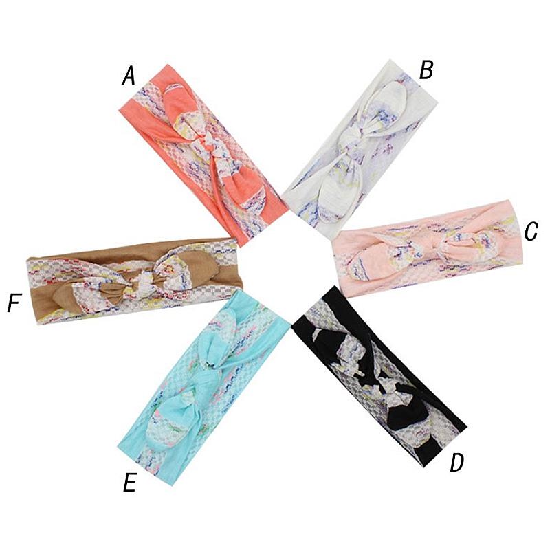 Baby Girls Flower Cotton Elastic Soft Hair Accessories Baby Headbands Neonatal Rabbit Ears Floral Headband Hair Bow(China (Mainland))