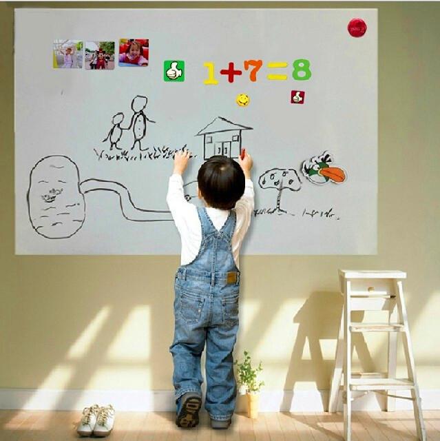 60*100cm 0.35mm Flexible Soft Kids Magnetic Whiteboard Sticker Sheets Portable erasable white board for Children Office Custom(China (Mainland))
