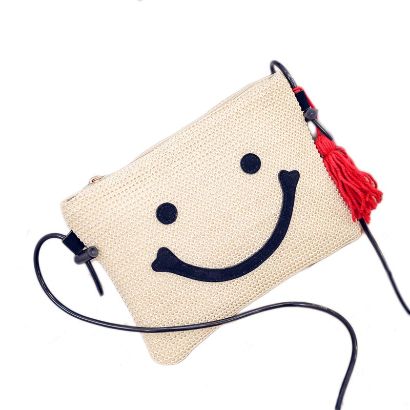 2016 New Arrival Envelope Handbag With Tassel Cute Summer Sea Beach bags Embroidery Women Smile messenger Clutch Bag(China (Mainland))