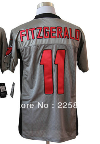 Quick Free shipping American Football Men's Elite Jerseys #11 LarryFitzgerald Gray Shadow Jersey all stitched Embroidery logos(China (Mainland))