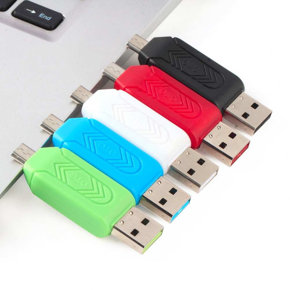 1pc Universal Card Reader Mobile phone PC card reader Micro USB OTG Card Reader OTG TF / S-D flash memory Wholesale(China (Mainland))