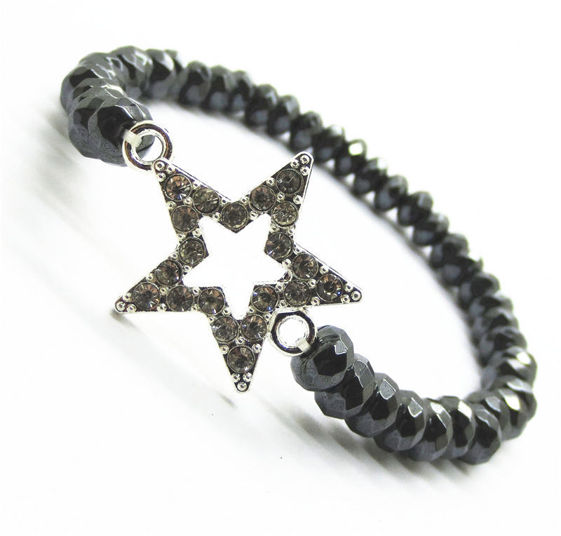 Love gift Hematite bracelet with Crystal Diamante star alloy piece and 6x4MM Faceted abacus hematite beads no magnetic(China (Mainland))