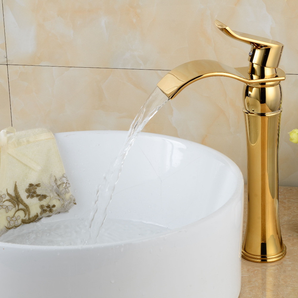 Gold bathroom faucets waterfall bathroom basin faucet gold brass torneira single handle sink mixer tap(China (Mainland))