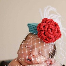 Fashion gauze rose vintage small fedoras baby hat props