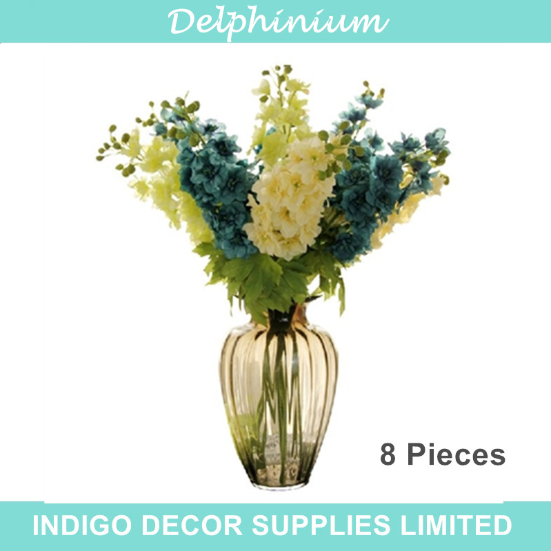 8pcs Delphinium Flower Set - 85cm Fake Flower Spary Artificial Silk Flower Wedding Flower Home Decorative Banquet Free Shipping(China (Mainland))