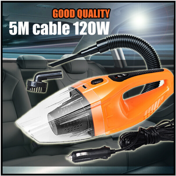 Car Vacuum Cleaner Wet And Dry Dual-use Super Suction 5meter 12V,120W Tile Vacuum Cleaner Free Shipping Aspirador De Po Portatil(China (Mainland))