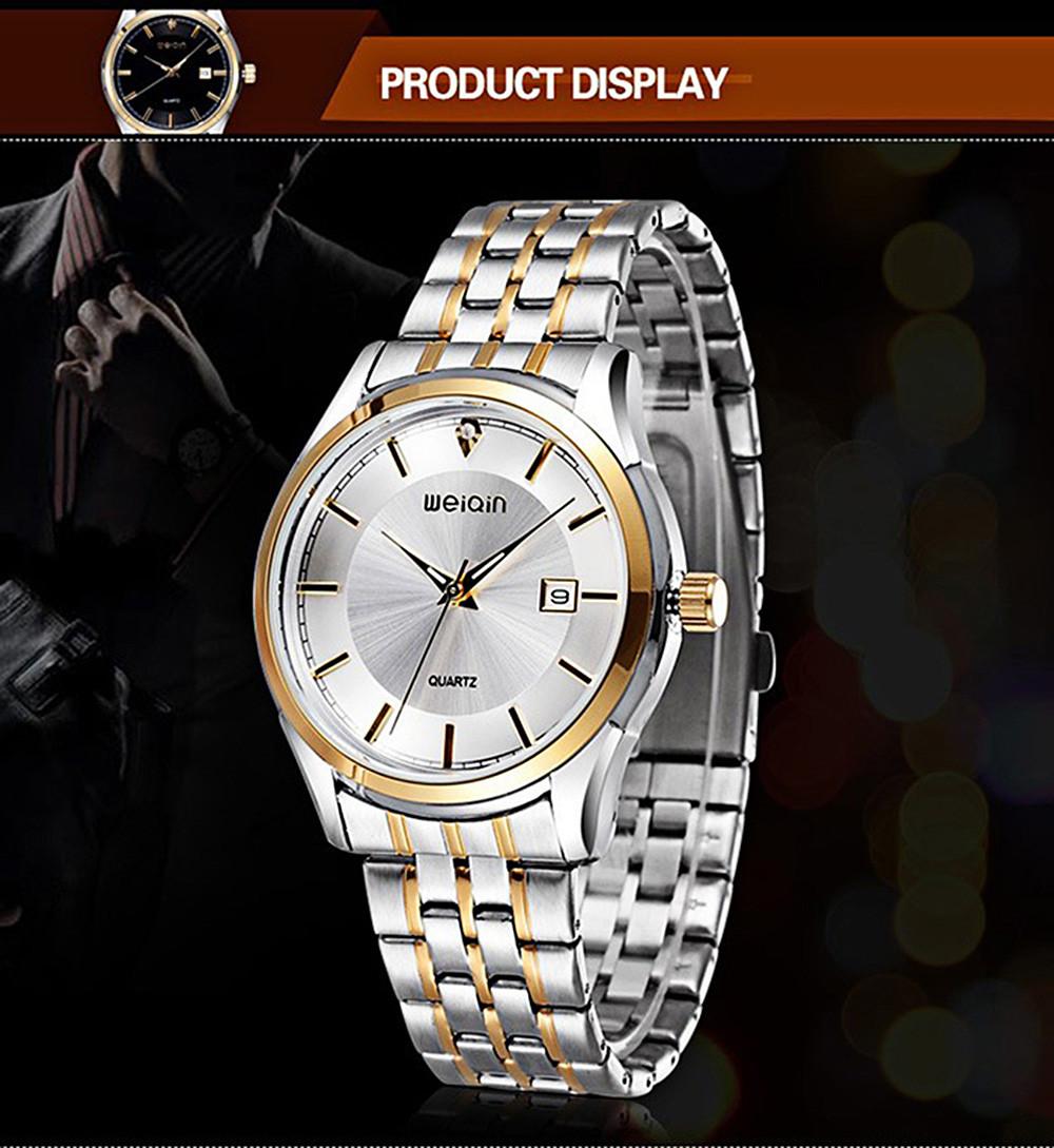 Luxury WeiQin 5066 Brand Mens Waterproof Fashion Business Wristwatch Stainless Steel Quartz Movement Male Men Wrist Watch Clock
