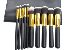 Free shipping 1 set with 10pcs black with gold  make up  brushes professional high quality  blending flat angled round  makeup