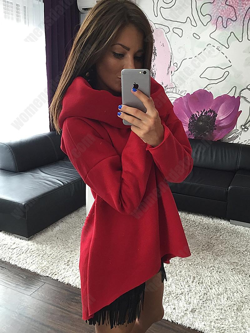 WomensDate Hot Sale 2016 Autumn Winter Irregular Hem Scarf Collar Long Sleeve Sweatshirt Women Sweatshirts