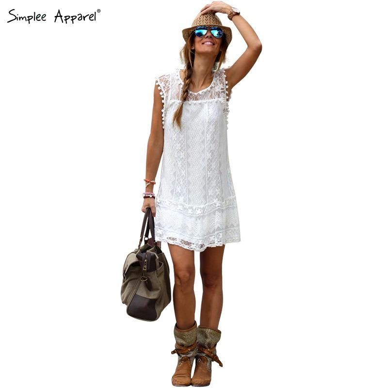 Simplee Apparel white lace crochet sundress summer style sleeveless party dresses patchwork pompon beach dress vestidos(China (Mainland))