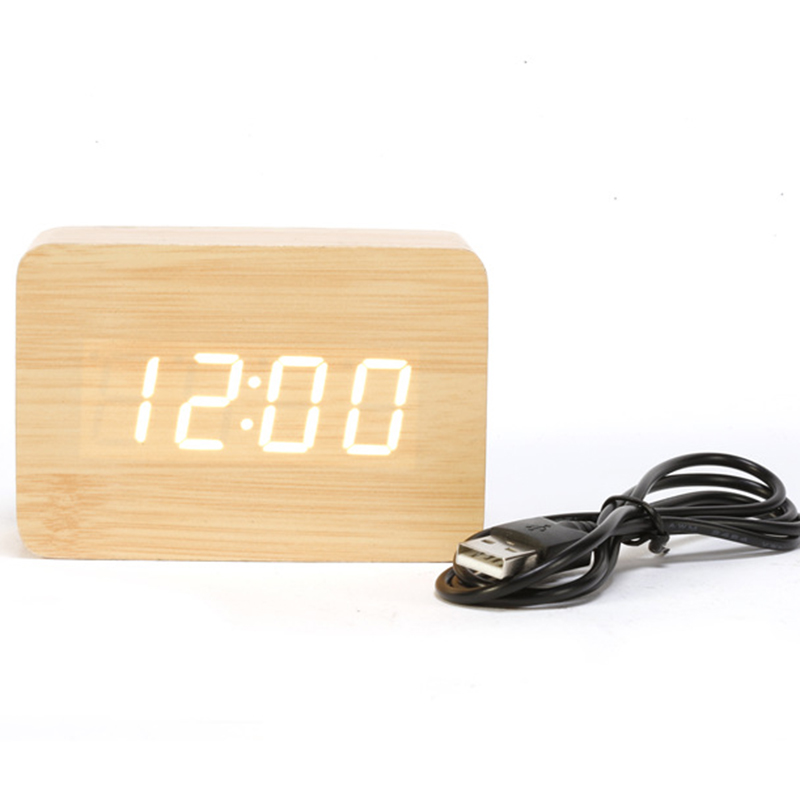 New listing Hot ! 2016 LED Wooden Small Digital Alarm Clock Modern Table Clock White Wood Red Word Electronic Desk Clock CYP-012(China (Mainland))
