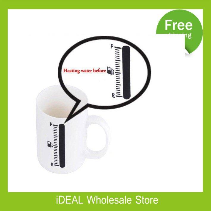 Free shipping 60pcs/lot 400ml Novelty New Arrival Ceramics Magic Thermometer Color Changing Cup Fuel Tank Mug(China (Mainland))