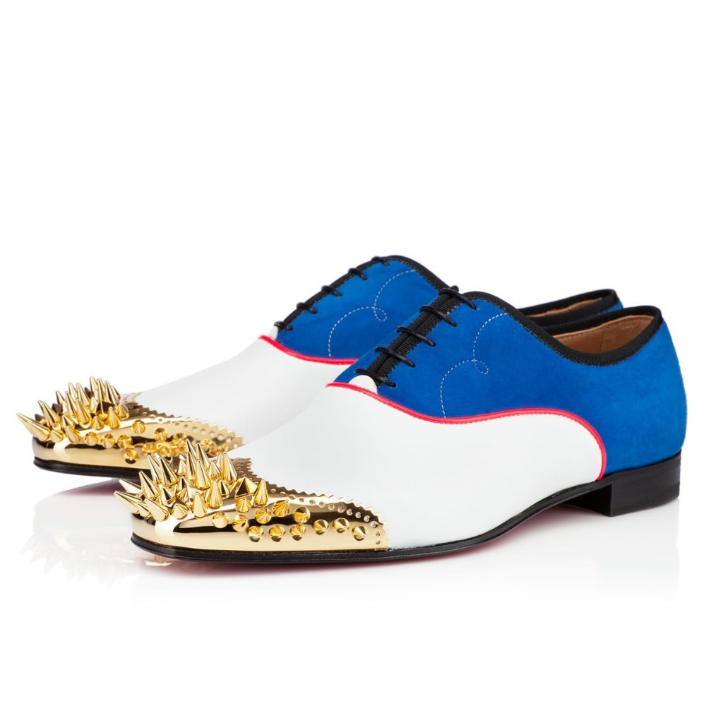 2015 brand style oxfords mixed white leather blue