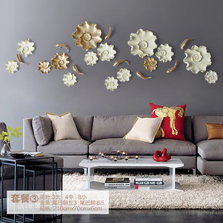10pcs/lot 3D Resin Fish and Lotus Leaf for Wall Poster HOME Decoration TV Back ground Wall Decoration Resin Artware Stickers(China (Mainland))