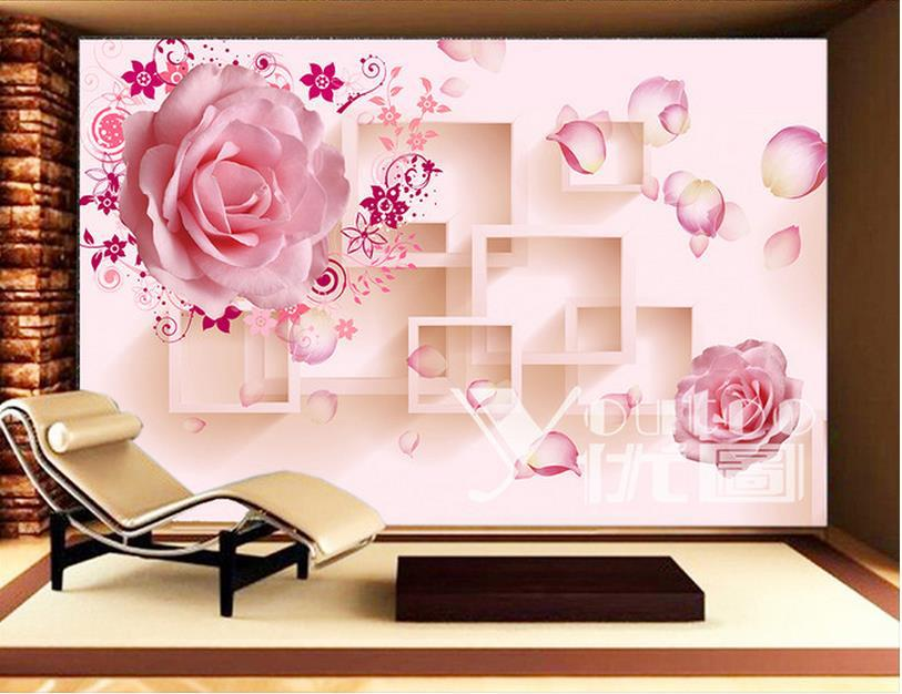 Europea 3d murals 3d wallpaper, photo pink rose for Tv sofa background wedding decoration wall,papel de parede floral(China (Mainland))