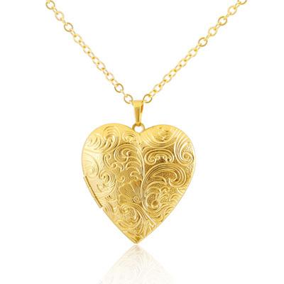 Sided pattern romantic heart-shaped box pendant 18k gold jewelry pendant necklace men and women xk-102(China (Mainland))