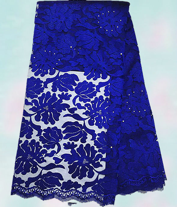 Free shipping !! (5yards/pc) Beautiful flowers design African tulle lace royal blue African French net lace fabric FXL07(China (Mainland))