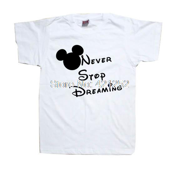 Never Stop Dreaming Inspirational Message Slogan Shirt Inspiration Saying Slogan T-Shirt(China (Mainland))