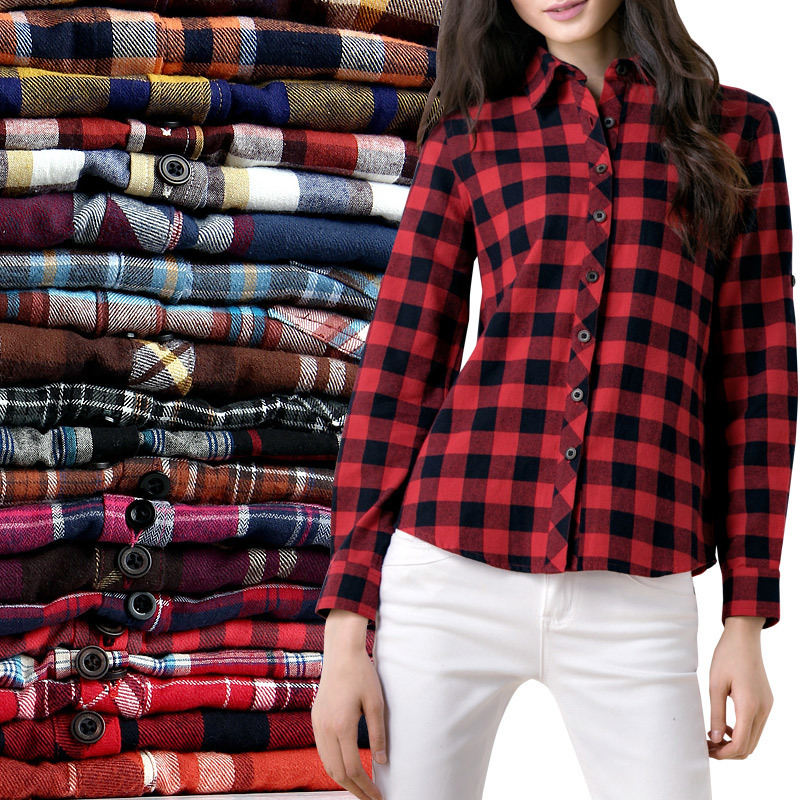 2015 Hot Sale Women Shirts tops  new 100% Cotton Flannel Plaid Shirt Female Student Women's Long-sleeve Plus Size Basic Blouses(China (Mainland))