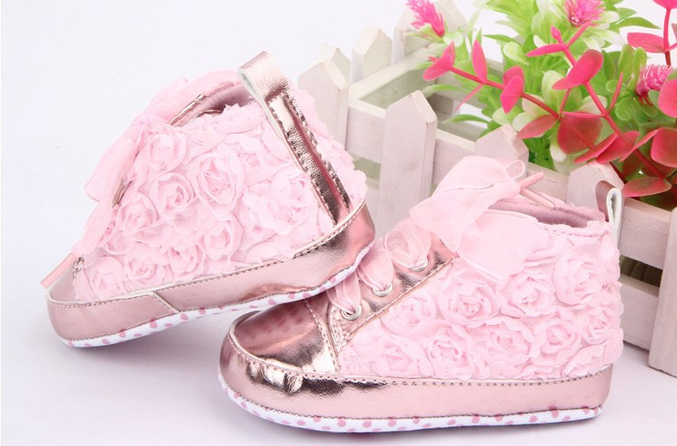 Baby kids Toddler  sapato infantil Rose flower soft sole girl shoes Baby First walker Shoes 3 colors(China (Mainland))