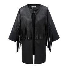 Women Casual Solid Tassel Leather Jacket Coat New Fashion 2015 Autumn Long Sleeve Mandarin Collar One Piece WD199(China (Mainland))