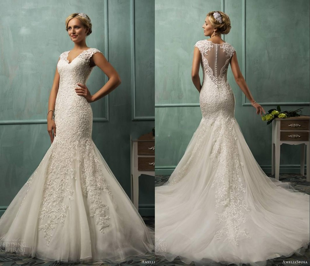 2015 v neck cap sleeve lace tulle mermaid wedding gowns for Lace fit and flare wedding dress with sleeves