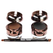 4 in 1 Brown + Black Gel Eyeliner Brown + Black Eyebrow Powder Make Up Water-proof Makeup Cosmetic Eye Liner Kit  M01220(China (Mainland))