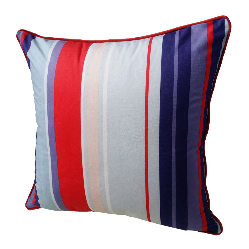 2016 Modern Printed Colorful Stripes Velvet Piping Cushion Cover Pillow Case for Home Car Decoration