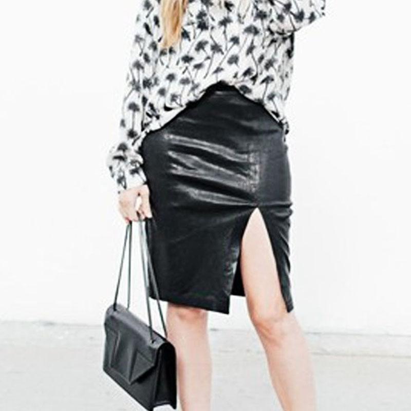 2015new fashion skirts pattern black skirt slim faux