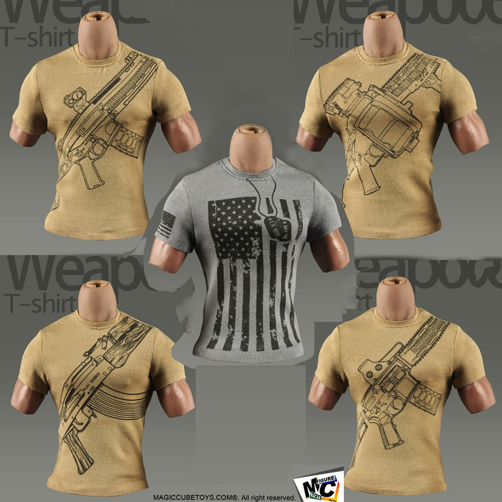 ( 5PCS/LOT) MC TOYS M-022 1/6 Military Element T Shirt for Hottoys Dam Sideshow DID 3A Action Figure DIY(China (Mainland))