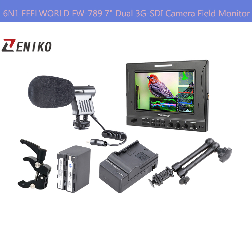 Free DHL 6N1 FEELWORLD FW-789 7 Dual 3G-SDI On-Camera Field Monitor + NP-F970 Battery w/Charger Arm Clamp + Microphone<br>