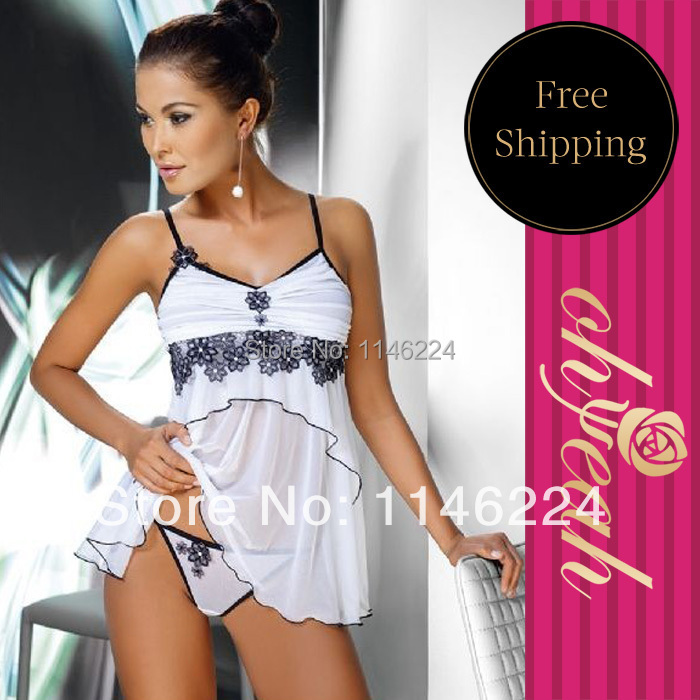 R7489P Wholesale and retail intimo sexy high quality best selling plus size babydoll flower white see through bridal lingerie(China (Mainland))