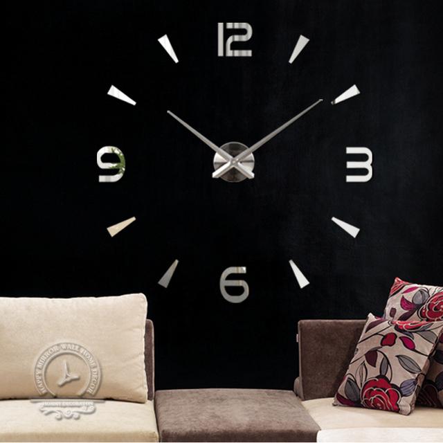 Mode 3d grande horloge murale de taille miroir autocollant - Miroir adhesif grande taille ...