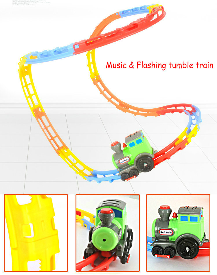 NEW music tumble rolling train DIY electric ABS flashing light music creative exercise rail car toy best gift for children(China (Mainland))