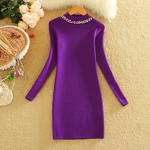 Alpha  2015 Autumn and Winter Diamond Collar Women Graceful Knit Dress Japanese Style Sweet Solid Color Bottom Dress in 6colors(China (Mainland))