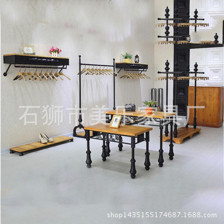 Hot Iron Female clothes rack clothing floor-island shelf display pendant water table Iron Wood<br><br>Aliexpress