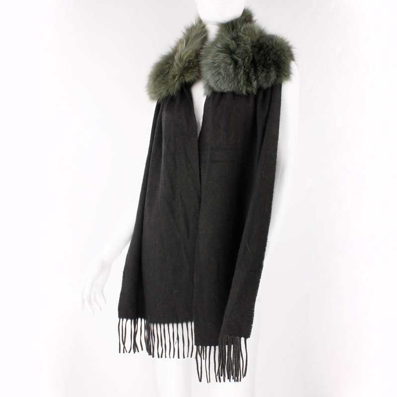F119- autumn and winter fashion ladies green long shawl with tassel, natural fox cashmere scarf with fur(China (Mainland))