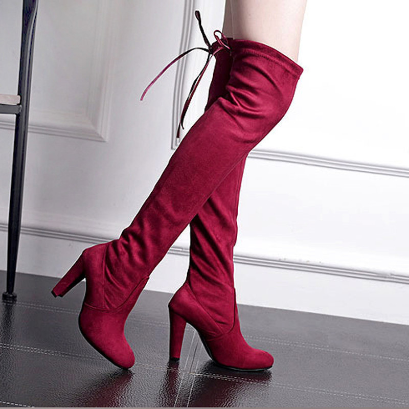 Women's Suede Thigh High Boots Over the Knee Boots Stretch Sexy Botas Overknee High Heels Shoes Black Gray Wine Red for Women(China (Mainland))