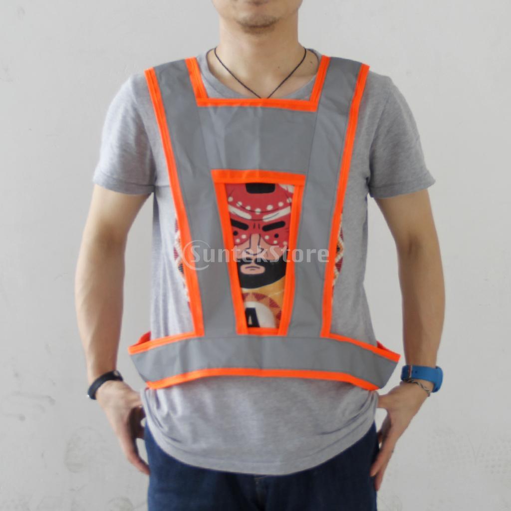 Magideal высокой видимости жилет безопасности серый светоотражающими полосами оранжевый