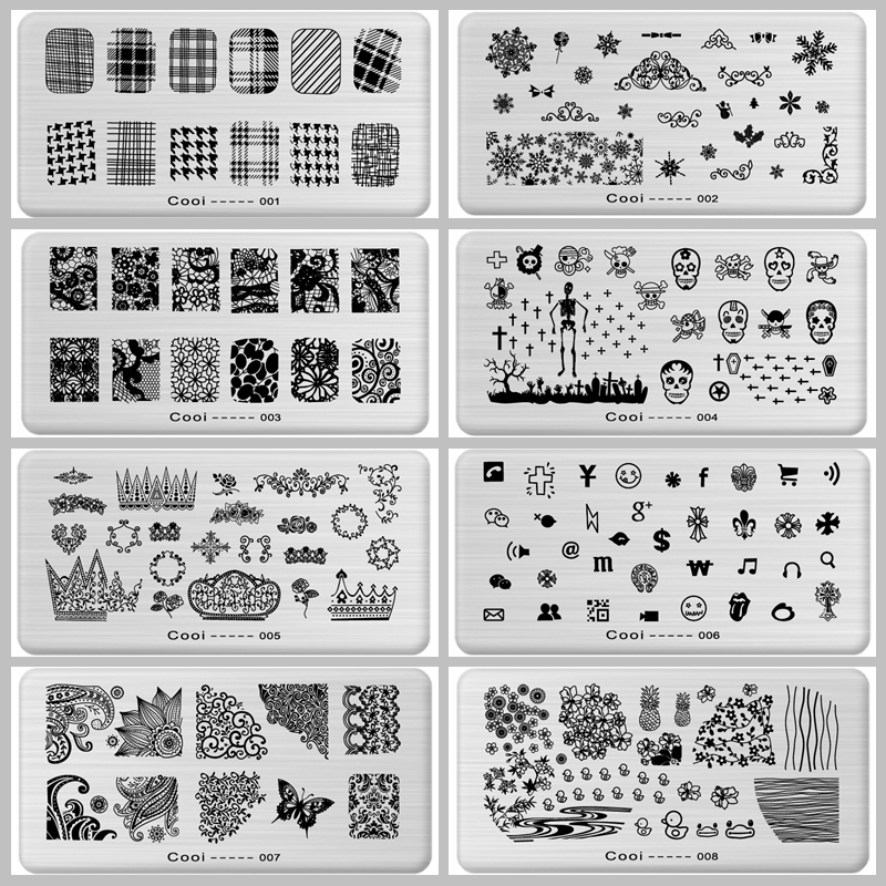 Stamping Nail Art Steel Konad Plates Stamp Manicure Template Nail Tools JH114 (Flowrs Fruit Animal Dark Butterfly )(China (Mainland))