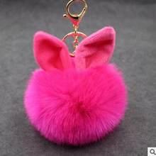 Alta Qualidade Titular Chaveiro Bola de Pêlo Pompom Fofo Falso Orelha de Coelho Artificial Pele De Coelho Keychain Bolsa Chaveiro Carro Mulheres(China)