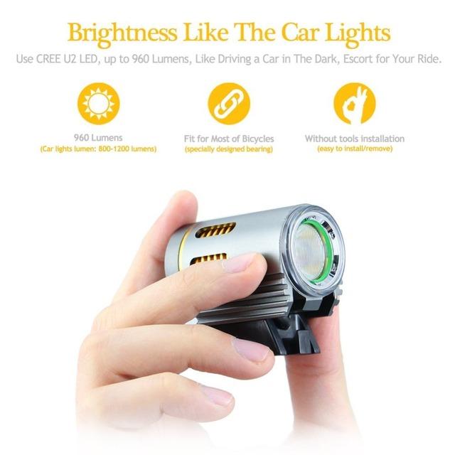 Super Bright Bicycle Handlebar Light,4500 Lumens, 6400mAh, LED Lamp, Waterproof