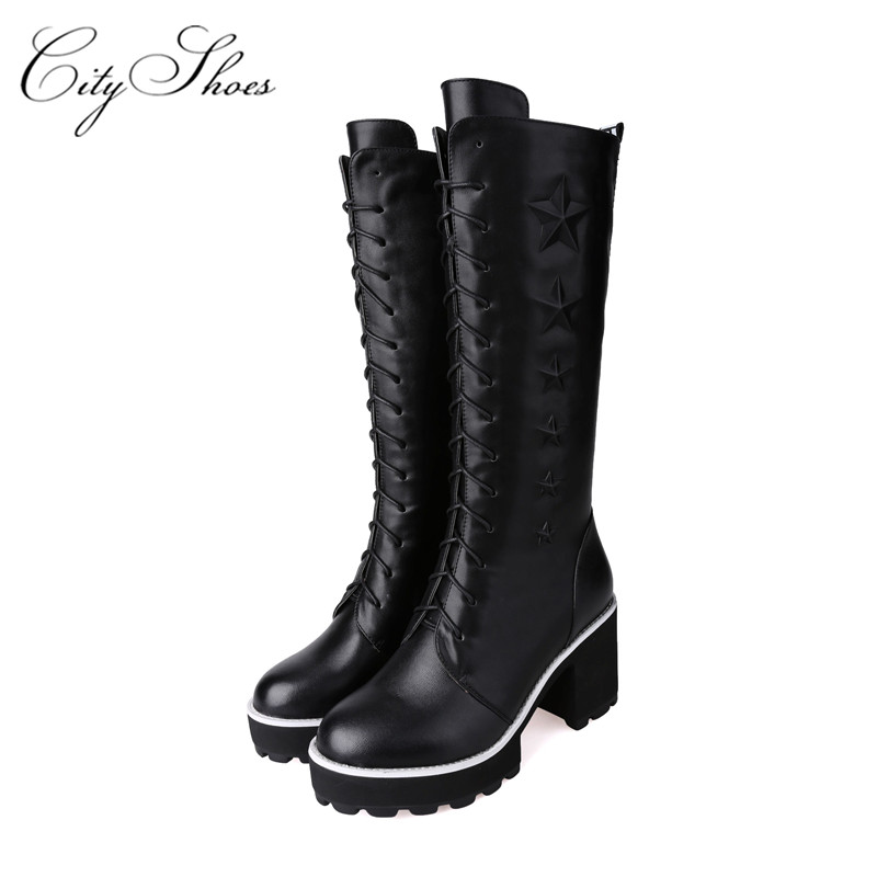 Genuine leather + PU women Riding thigh knee high boots autumn winter woman fashion female Black white womens shoes ladies boot