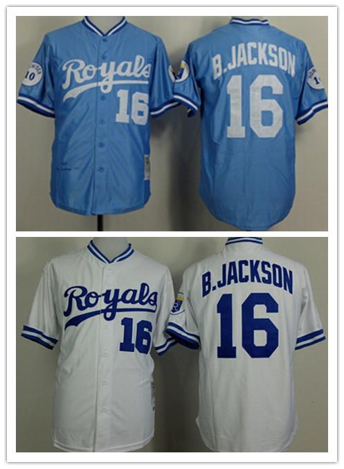 Pria murah putih Kansas bangsawan kota tim jersey, # 16 bubuk biru Bo Jackson kemunduran antik bisbol jersey, Dijahit tombol(China (Mainland))
