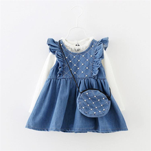Children dresses kids girls Spring and Autumn A-line baby girls denim dresses,2015 new girls clothing with crossbody pocket (China (Mainland))